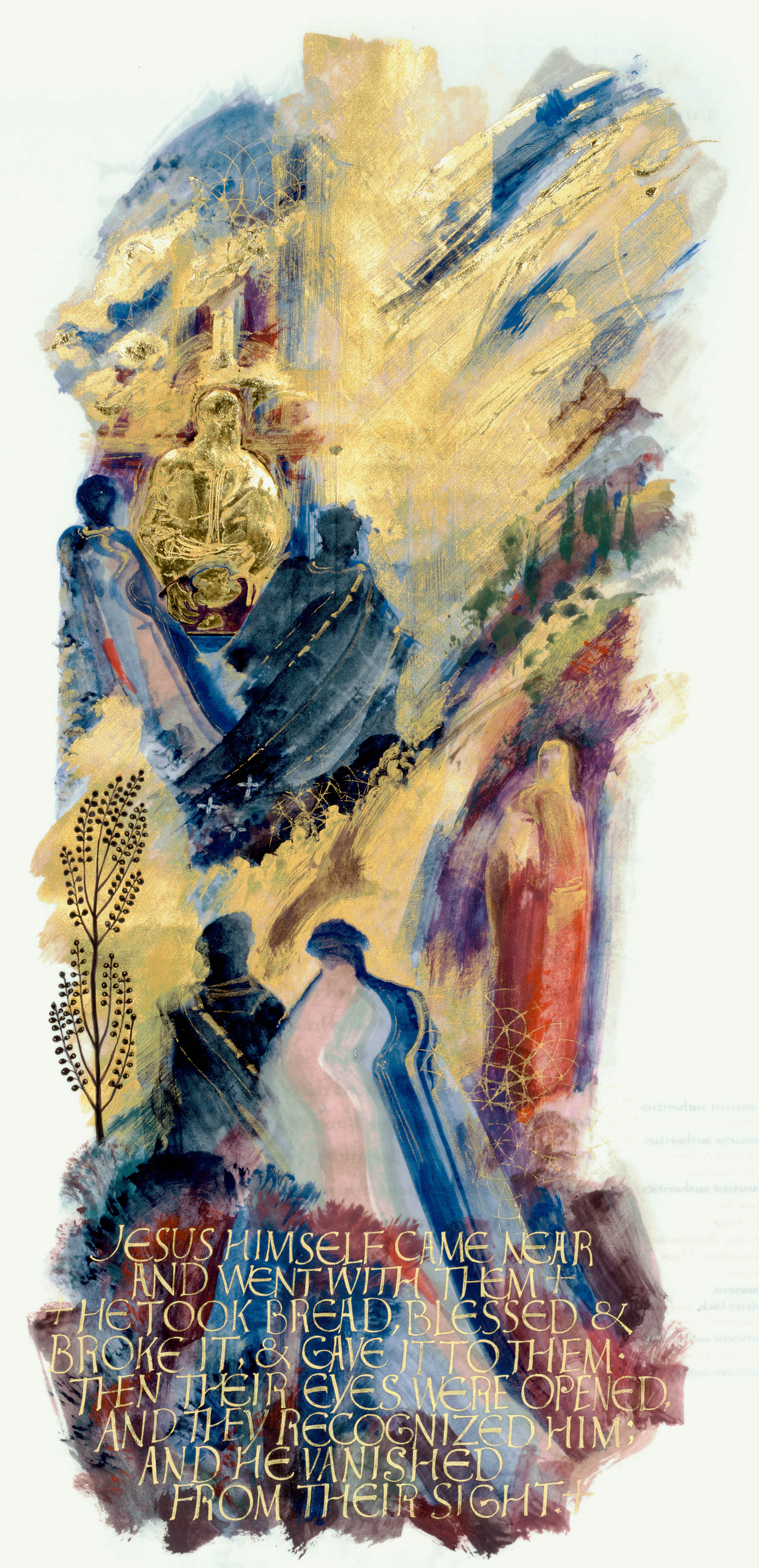 Road to Emmaus, Sally Mae Joseph, Copyright 2002, The Saint John's Bible, Saint John's University, Collegeville, Minnesota USA. Used by permission. All rights reserved.